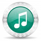 music green icon, christmas button, note sign