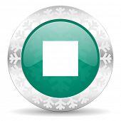 stop green icon, christmas button