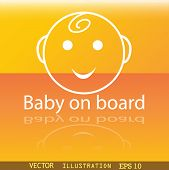 Baby On Board Icon Symbol Flat Modern Web Design With Reflection And Space For Your Text. Vector