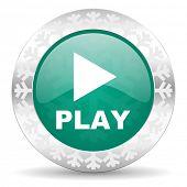 play green icon, christmas button