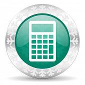 calculator green icon, christmas button