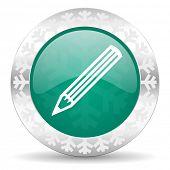 pencil green icon, christmas button