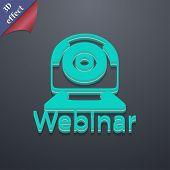Webinar Web Camera Icon Symbol. 3D Style. Trendy, Modern Design With Space For Your Text Vector