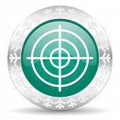 target green icon, christmas button