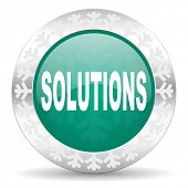 solutions green icon, christmas button