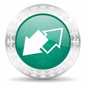 exchange green icon, christmas button