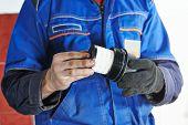 Car servicing, oil filter replacing maintenace