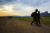 Lopburi Thailand-dec25: Thai Army Soldier Practice To Long Range Patrolling Across Open Country Of N