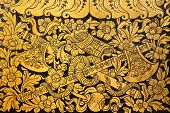 Native Thai Painting (flower And Vine Bind Twin Axe) On Wall Of Thai Temple ,bangkok ,thailand