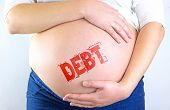 Pregnant Woman Belly With Debt Stamp