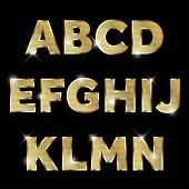 Gold glittering  metal alphabet.
