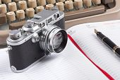 Old Typing Machine, Old Fountain Pen And Photo Camera