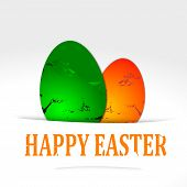 Happy Easter - two colored eggs