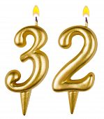 Birthday Candles Number Thirty Two Isolated