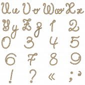 Old rope alphabet from u to z