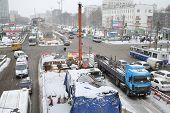 MOSCOW, RUSSIA - MAR 19, 2014: Schelkovskoe highway in Moscow in winter, road reconstruction