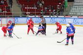 MOSCOW, RUSSIA - APR 26, 2014: Game of hockey among childrens teams at the Ice Palace of Sports Sokolniki