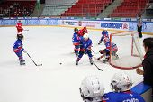 MOSCOW, RUSSIA - APR 26, 2014: Competition on hockey among children at the Ice Palace of Sports Sokolniki