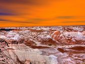 picture of petrified  - Sunset scenic landscape of ancient petrified forest in Arizona - JPG