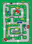 pic of grass area  - Children vector illustration of labyrinth of roads grass areas byilding and cars - JPG