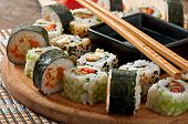 pic of sushi  - Sushi Set on wooden table - JPG