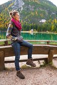 Young Woman On Lake Braies In South Tyrol, Italy