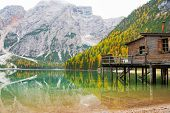 foto of south tyrol  - Lake braies in south tyrol in italy