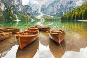 image of south tyrol  - Closeup on boats on lake braies in south tyrol italy - JPG