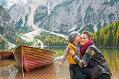Portrait Of Baby Kissing Mother On Lake Braies In South Tyrol, I