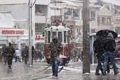 The Red Tram In Snow