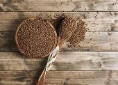 Wooden Bowl Of Buckwheat