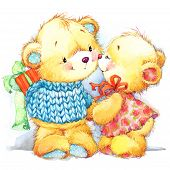 Cute Teddy Bear. Background For Kid Birthday Card. Watercolor Illustration