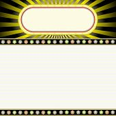 picture of marquee  - movie marquee blank neon lights sign with glowing billboard - JPG