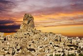 Ortahisar castle at sunset, Cappadocia, Turkey