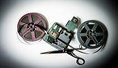 8Mm Movie Reels, Film On Splicer Ans Scissors
