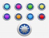 Nine Colors Signs Sun On The Buttons