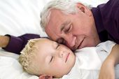 grand father and grandson asleep