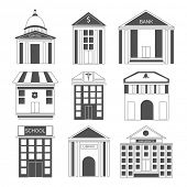 Set of nine icons for house and buildings on white background.