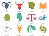 image of pisces horoscope icon  - Set of astrological Zodiac symbol - JPG