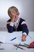 Tired Boy During Doing Homework