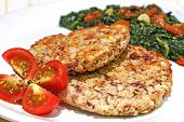 picture of veggie burger  - Roasted vegggie burgers made with cranberry beans - JPG