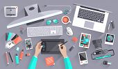 stock photo of staples  - Flat design vector illustration of modern creative office workspace workplace of a designer - JPG