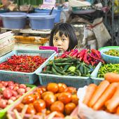 BANGKOK, THAILAND - DEC 15, 2014: Unidentified girl child seller on the Burmese street market in Bangkok. There is 16,000 registered street vendors in Bangkok.