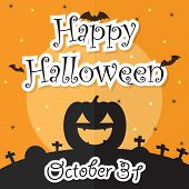 Happy Halloween Night Background With Moon, Bat, Pumpkin And Grave