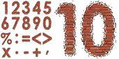 Set vector brick digit