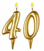Birthday Candles Number Forty Isolated
