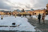 Evening View Of The Manege Square In Moscow In The Winter