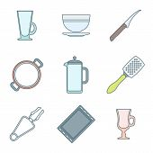 various color outline dinnerware icons set
