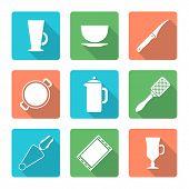 various flat style white dinnerware icons set