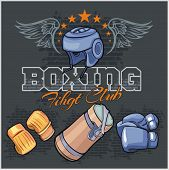 Boxing labels and icons set. Vector illustration.